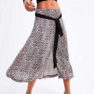 Zara Animal Leopard Print Belt Tie A-Line Skirt